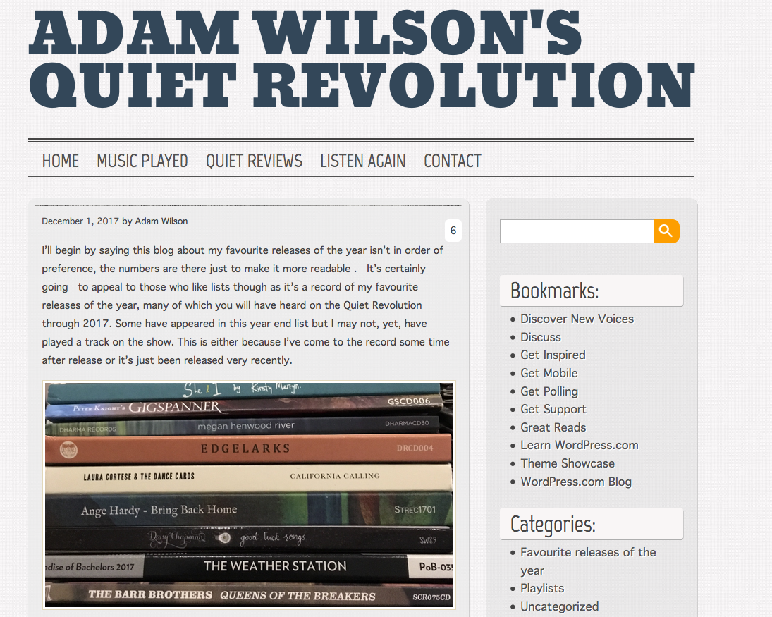 ADAM WILSON'S QUIET REVOLUTION ALBUM OF THE YEAR SCREEN GRAB